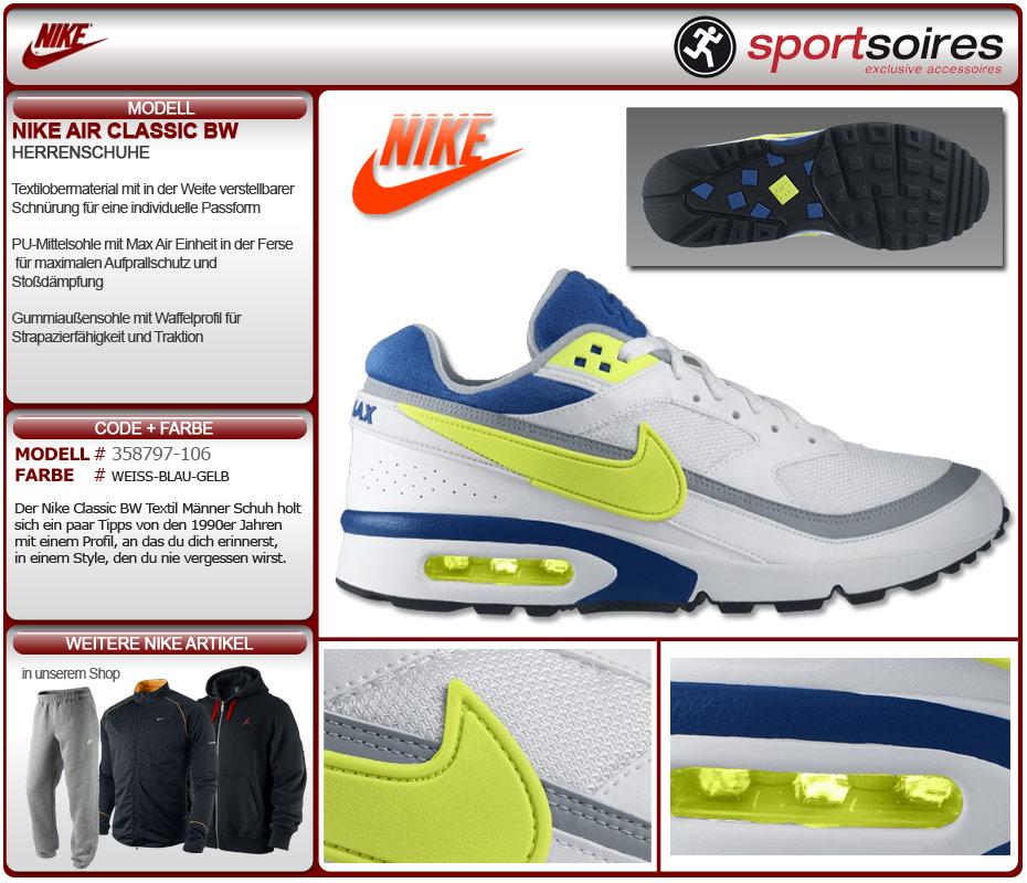 Nike Air Classic BW schwarz neon gelb (358797 040) Größe 44